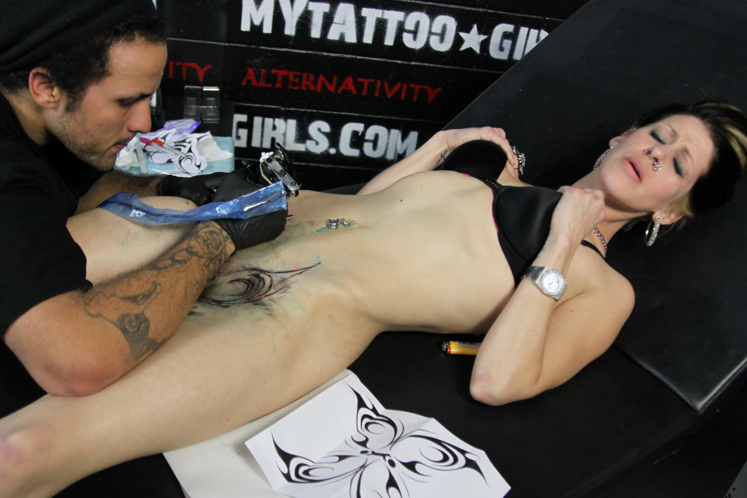 Butterfly tattoos next to her pussy, euro nudist links
